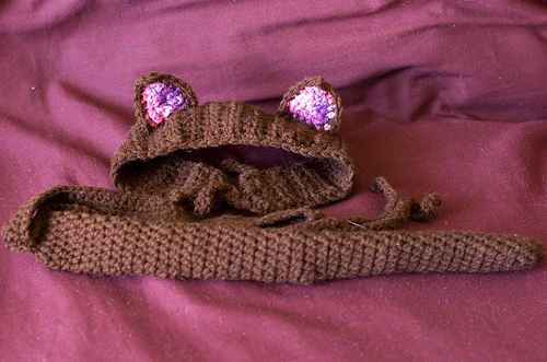 Crochets cat costume (tail and ears)