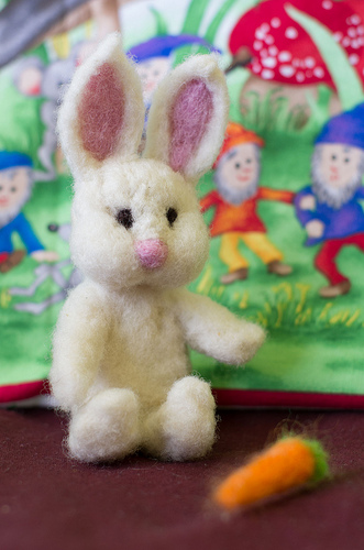 Needle felted bunny and carrot