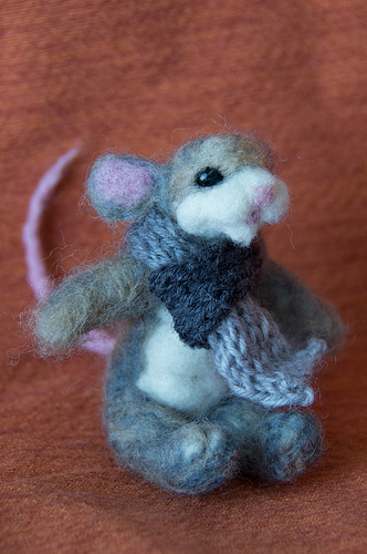 Needle Felted Mouse with knitted scarf