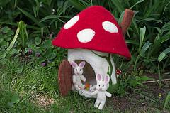 Mushroom House with Bunny Family